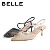 百丽Belle优雅高跟鞋 女夏新商场同款闪钻网纱细跟凉鞋W1L1DBH1