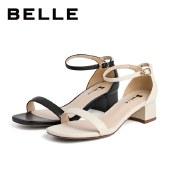 百丽Belle通勤一字带凉鞋 女夏新商场同款羊皮革粗跟凉鞋3NYA1BY1
