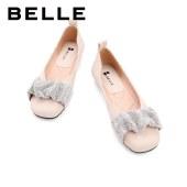 百丽Belle甜美单鞋 女秋新款商场同款羊皮革水钻平底鞋W9A1DCQ1