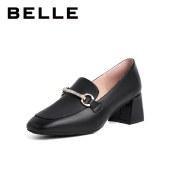 百丽Belle粗跟奶油乐福鞋 女春新商场同款牛皮革舒适通勤乐福鞋W2Z1DAA1