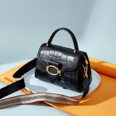 海谜璃新款头层牛皮优雅女士单肩包时尚百搭气质型手提包定型包HBB0163