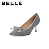 百丽Belle尖头高跟鞋 女秋新商场同款水钻蝴蝶结细跟单鞋3DY14CQ1