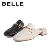 百丽Belle粗跟包头半拖穆勒鞋 女夏新商场同款穆勒鞋粗跟拖鞋3E739BH1