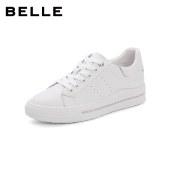 百丽Belle厚底小白鞋 女秋新商场同款牛皮革休闲板鞋W7M1DCM1