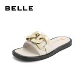 百丽Belle时尚一字拖 女夏新商场同款羊皮革休闲拖鞋3IM30BT1