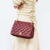 海谜璃新款包包女斜挎包牛皮时尚复古牛皮女包潮流菱格链条包HBB0060