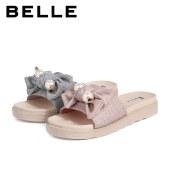 百丽Belle蝴蝶结厚底一字拖鞋 女外穿夏商场新款甜美蝴蝶结W4N1DBT1