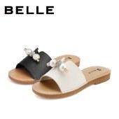 百丽Belle平底凉拖鞋 女夏新商场同款牛皮革简约串珠W4J1DBT1