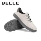 百丽Belle时尚板鞋 男夏新牛皮休闲百搭小白鞋系带板鞋70393AM1
