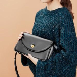 海谜璃牛皮百搭黑色小方包女气质时尚简约单肩斜挎包HBB0102