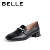 百丽Belle粗跟奶油乐福鞋 女春新商场同款英伦风女皮鞋3E727AA1