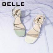 百丽Belle仙女风粗跟罗马凉鞋 女夏新商场同款浪漫气质粗跟凉鞋3NY39BL1