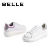 百丽Belle厚底小白鞋 女春新商场同款牛皮革女休闲板鞋3ZT29AM1