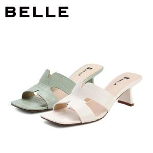 百丽Belle几何拖鞋 女夏新高跟外穿凉拖女款商场同款拖鞋3LRB7BT1