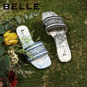 百丽Belle绣花帮面平底凉拖鞋 女夏新商场同款日常凉拖鞋3NQ32BT1