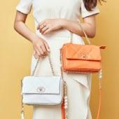 海谜璃新款牛皮女包小香风绣线菱格包链条单肩斜挎时尚手提包HBB0067