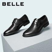 百丽Belle商务休闲男鞋 男春季新款牛皮革婚鞋正装黑色皮鞋10503AM0