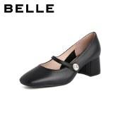 百丽Belle玛丽珍粗跟鞋 女春新商场同款漆牛皮革粗跟单鞋W1Z1DAQ1