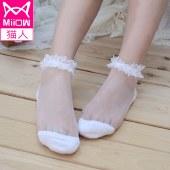 猫人5双装日系女袜子透明蕾丝船袜短款水晶玻璃丝袜可爱MR5006-5