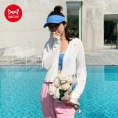 猫人夏季气孔防晒衣女骑行户外防紫外线薄款透气带帽防晒衣MR9003-1