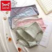 猫人5条装简约舒适内裤女透气三角短裤女生底裤MR7009-5